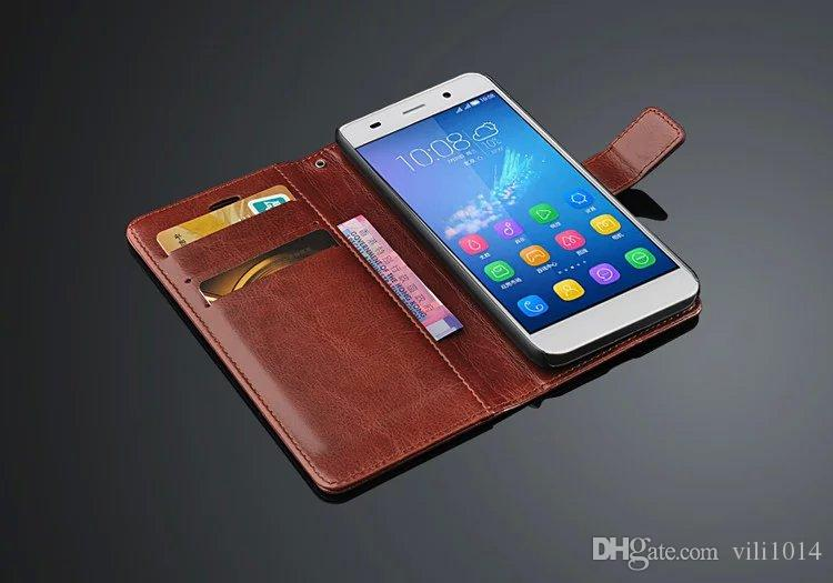Card Holder Cover Case for Huawei Ascend Y6 PU Leather Phone Case Ultra Thin Wallet Flip Cover for Huawei Honor 4A 5.0-inch