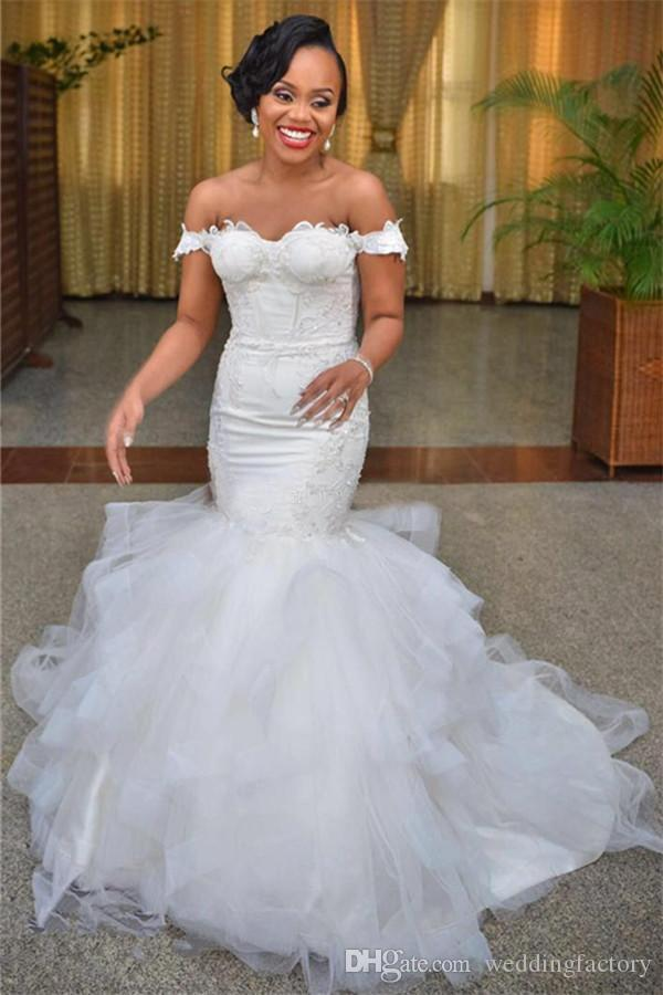Elegant Off the Shoulder Mermaid Wedding Dress Lace Appliques Ruffles Tulle Arabic Corset Bridal Gowns Lace-up Back Sweep Train