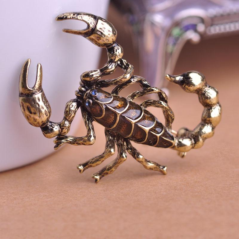 Halloween Gift Vintage Animal Brooch Sweater Clips Cool Enamel Esmalte Scorpion Broche Badge With Pin For Men Women Bijouterie