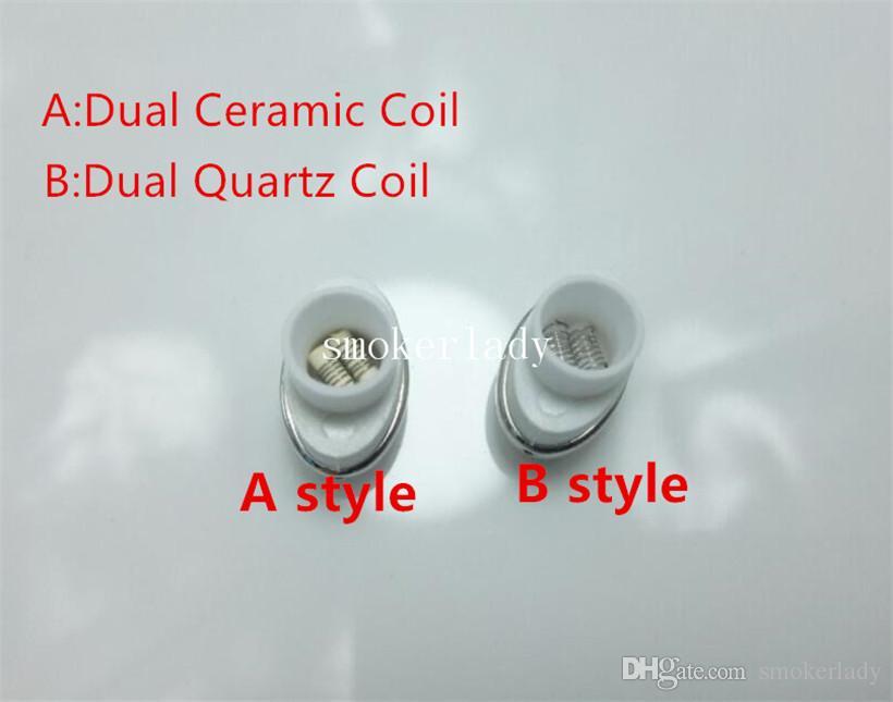 Micro G Elipe Atomizer coils Dual Quartz Coil Head Ceramic Rod for Elips Wax pen Micro Gpen Double Coil Rod E Cigarette