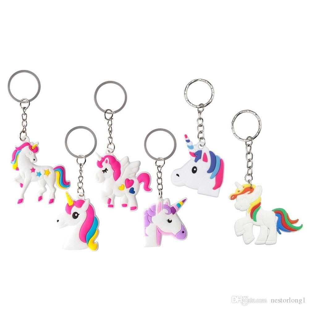 heißer verkauf 17 entwirft regenbogen einhorn pferd schlüsselanhänger schlüsselanhänger dekoration geburtstagsfeierbevorzugung liefert großhandel