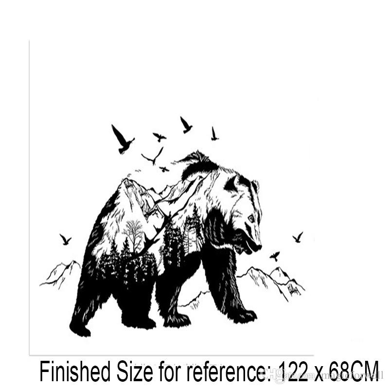 Creative Black Bear Woods Forest Mountains Uccelli volanti Silhouette Wall Stickers Home Decor Wallpaper Poster Art for Living Room Camera da letto