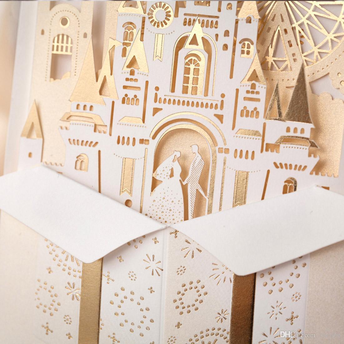 Laser geschnittene Hochzeitseinladungs-Ausrüstungs-Braut-und Bräutigam-Einladungs-Karten für Hochzeits-Schloss-Braut-Dusche lädt Hochzeit Bevorzugungen Casamento CW5093 ein