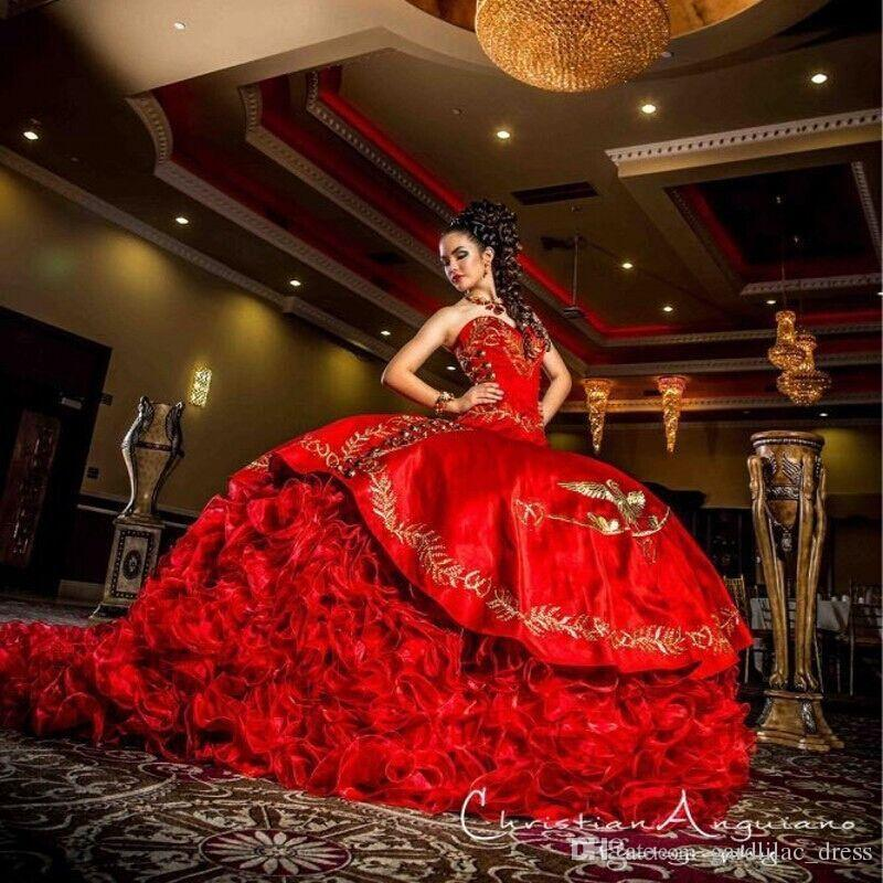 New 2017 Sweetheart Red Gold Embroidery Quinceanera Dresses Big Train Sweet 16 Dress Ball Gown Ruffles Long Prom Dress