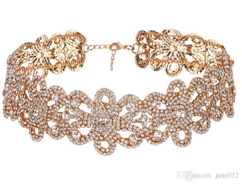 Europejski styl Moda Stop CZ Pełny Diament Kwiat Kryształ Choker Naszyjnik Morques Damski Dla Kobiet Gold Silver Party Jewelry