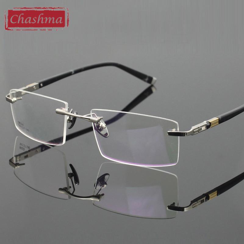 961297a9031 2019 Wholesale Chashma Titanium Eyeglasses Rimless Ultra Light Myopia Optical  Frame Prescription Glasses Frames For Men From Huteng
