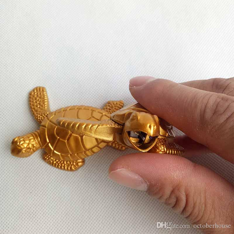 Gold Turtles Tortoise Butane Metal Cigarette Smoking lighter Without Gas For Tobacco Hand Pipes Accessories Tools Kitchen Use