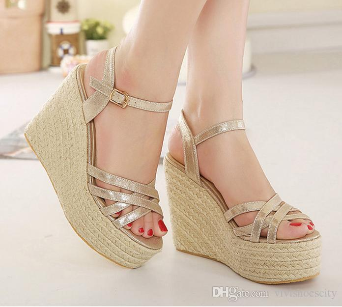 Lena Vivi Straw Woven Gold Sandals Women High Heel Platform Wedge ...