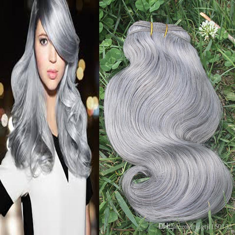 Brazilian Body Wave Hair Bundle 100g Gray Human Hair Weave 7a Silver Grey Hair Extensions