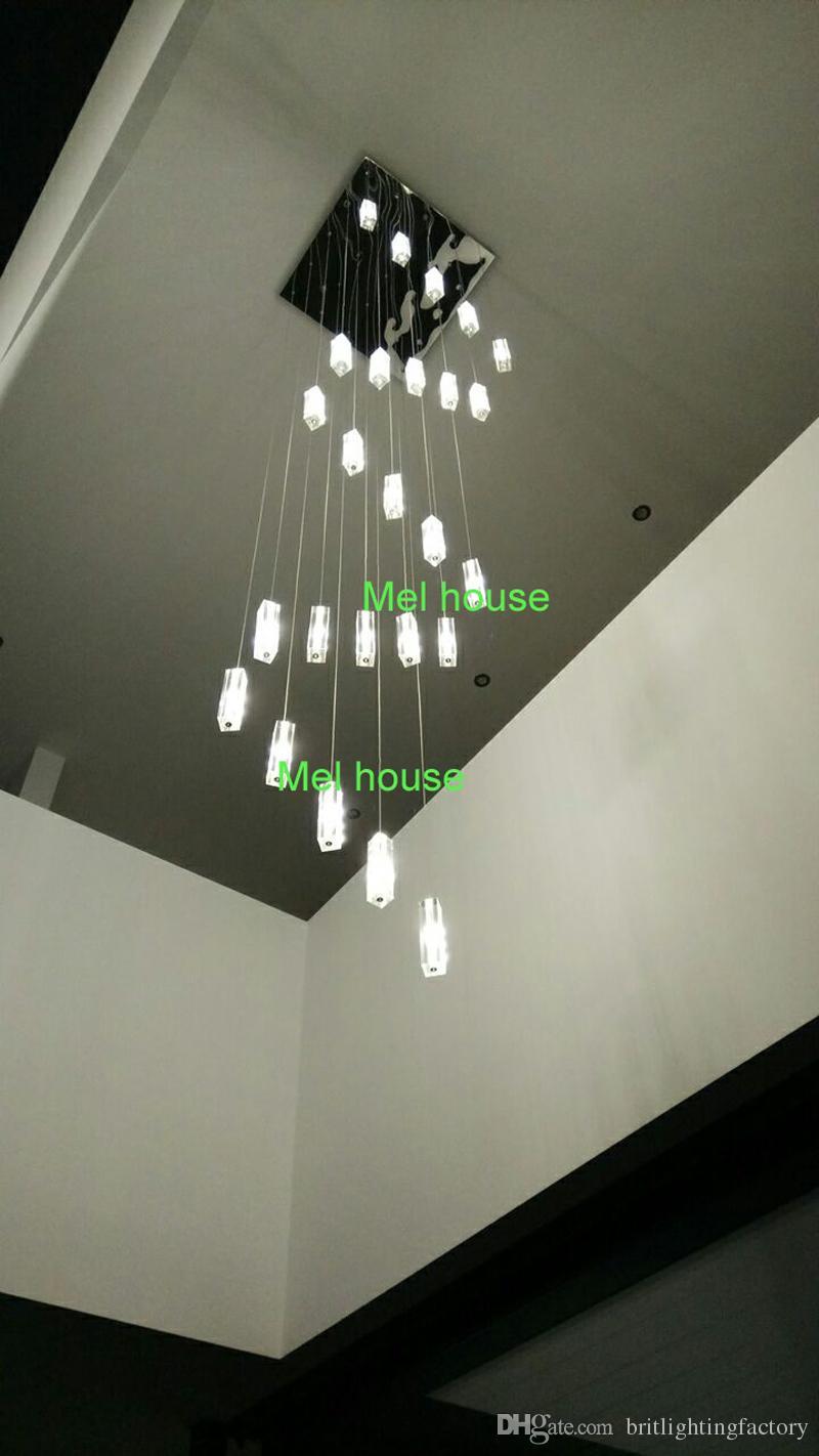 Lustre do hotel Escadaria Luminária moderna praça Lustre gota de chuva iluminação Espiral escada de cristal lustres de Aço Inoxidável