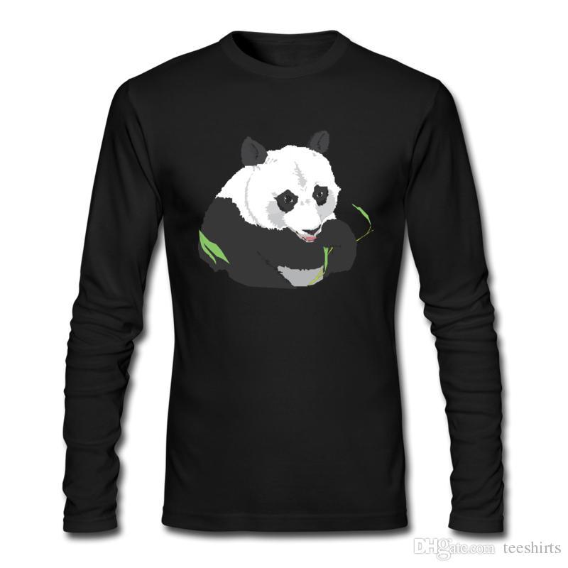 Uzun Kollu ve Mürettebat Boyun T-Shirt ile İlkbahar ve Sonbahar T-Shirt için Sevimli Ağır Panda Baskı T-Shirt