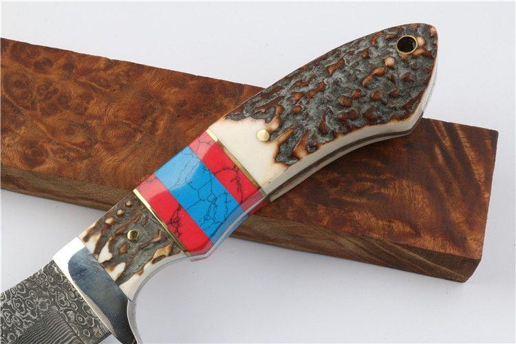 Promotion Damas Bowie Lame Chasse Couteau Antler Poignée Camping En Plein Air Randonnée Survie Droite Couteaux