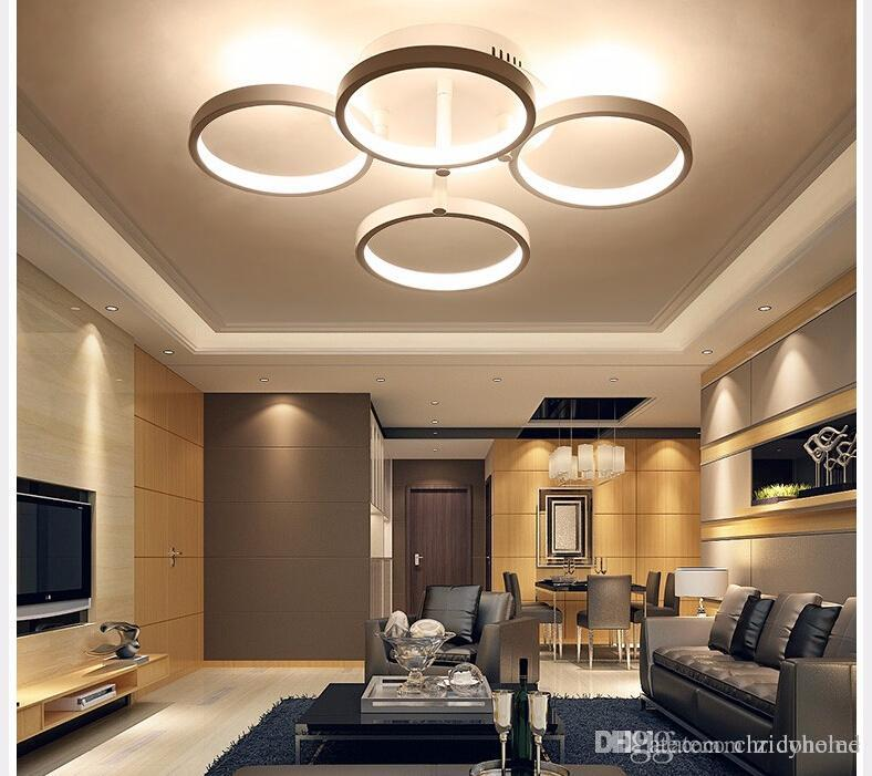 2018 circle rings designer modern led ceiling lights lamp for Living room designs 2018
