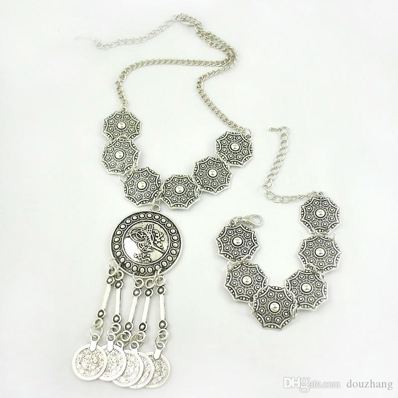Boho 쥬얼리 부족 보석 세트 골동품 은화 동전 초커 목걸이 팔찌 세트 보헤미안 민족 보석 많이 10 세트
