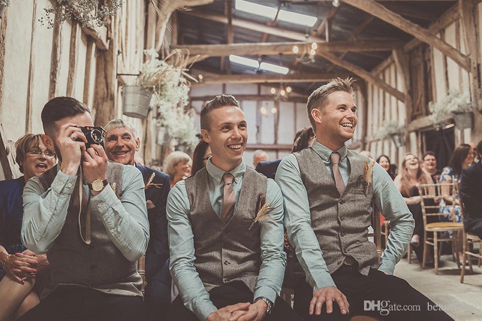 2019 Pays Mariage Gris Laine Chevron Tweed Gilets Sur Mesure Groom Gilet Slim Fit Mens Costume Gilet De Bal De Mariage Gilet Plus La Taille