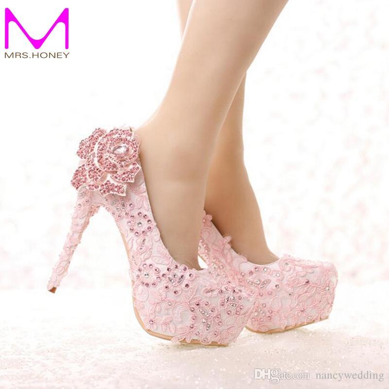 separation shoes 575ac e4877 Mode rosa Spitze Braut Schuhe Strass Rose Blume High Heel Hochzeitsschuhe  Plattform runde Kappe Prinzessin Pumps Prom Schuhe