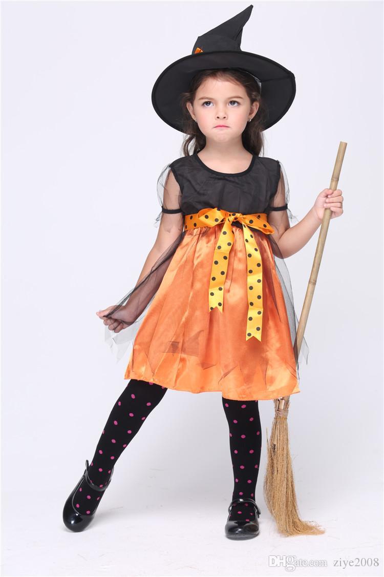 Kids Cosplay Costumes Halloween Witch Pumpkin Costumes Children ...