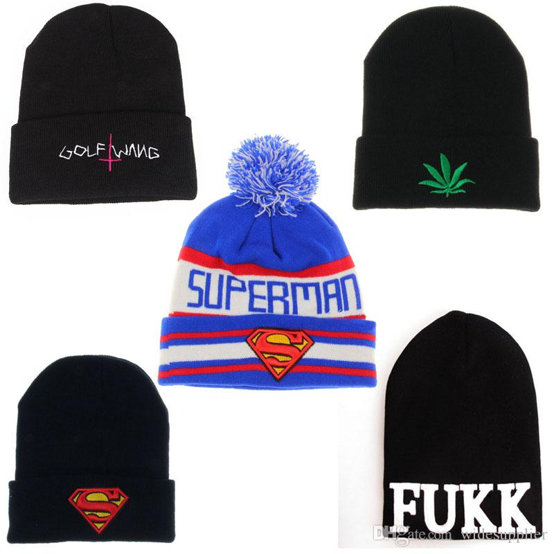 c3ccc6982d3 GOLF WANG Superman Beanies Hats Autumn Winter Knitted Woolen Hat Fashion  Hip Hop Hip Hop Hat Cap Outdoor Hat Ski Cap Warm Hats Cap Shop Knitted Hat  From ...