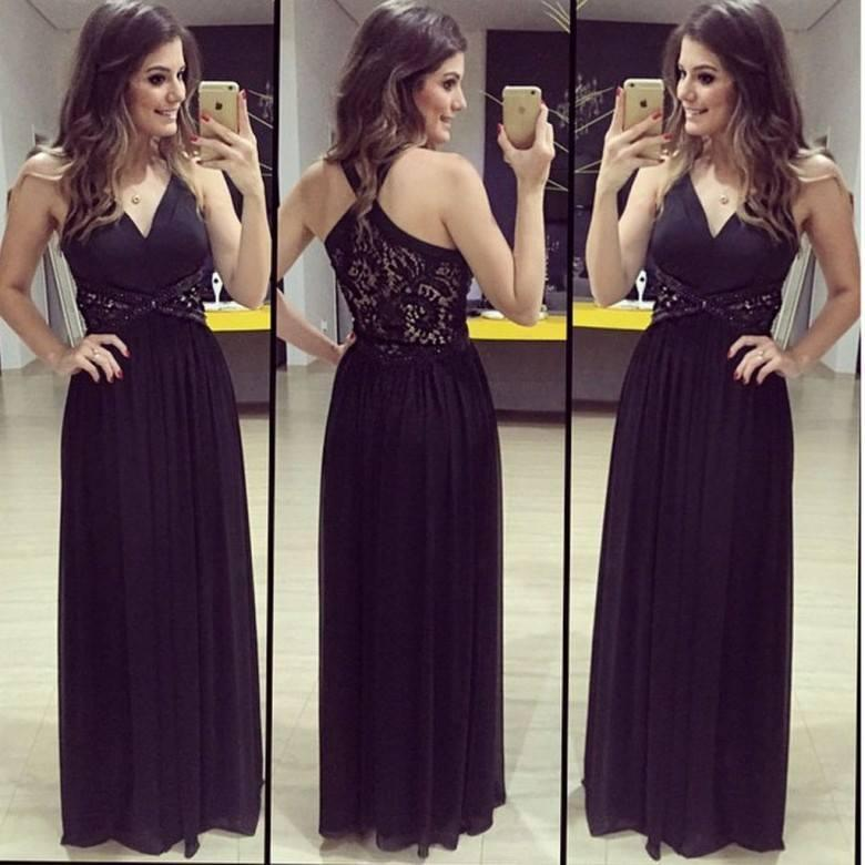 2016 Fancy Black V-neck Chiffon Prom Dresses Lace Beaded Party Gowns Unique Y-back Ruched Full Length Summer Beach Cheap Evening Gowns