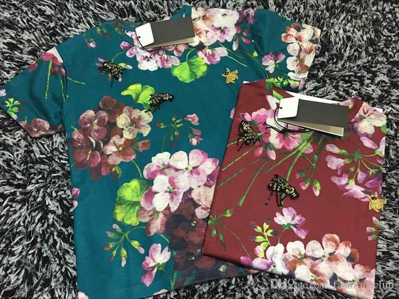 브랜드 디자이너 t- 셔츠 2016 패션 여성 슬림 T 셔츠 최고 품질의 무료 배송 t 셔츠 인쇄 T 셔츠 제라늄 꿀벌 비즈