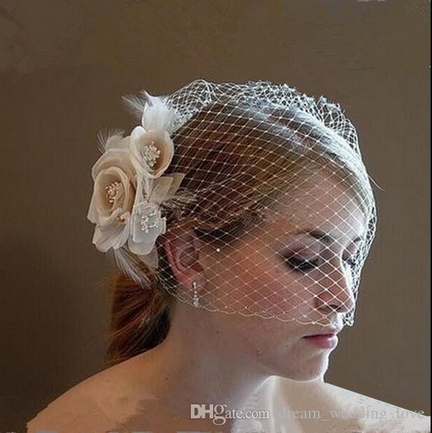 Düğün Birdcage Veils Şampanya Fildişi Beyaz Çiçekler Tüy Birdcage Veil Gelin şapka Saç Parçaları Gelin Aksesuarları BV03