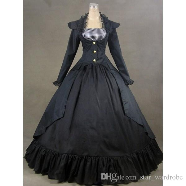 3b241403603 2019 Custom 2015 Retro Black Long Sleeve Adult 18th Century Gothic  Victorian Dress  Halloween Civil War Ball Gowns From Star wardrobe