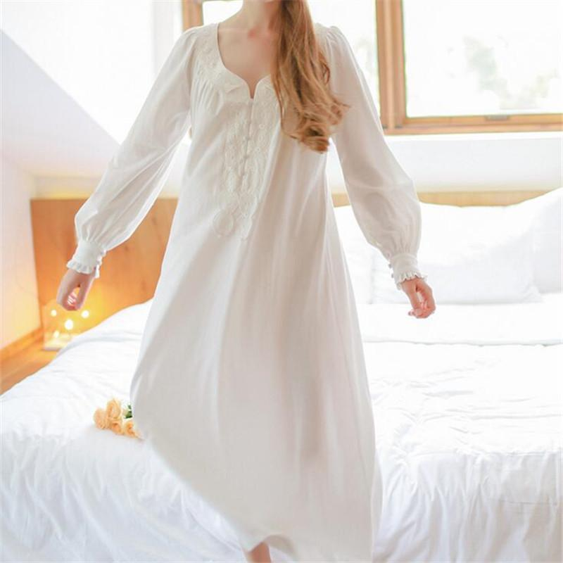 2019 Wholesale 2017 Vintage Long White Nightgowns Women Sleep Lounge V Neck  Cotton Long Sleeve Sleeping Home Dress Princess Sleepwear Female From  Keviny bbbf3b2d9