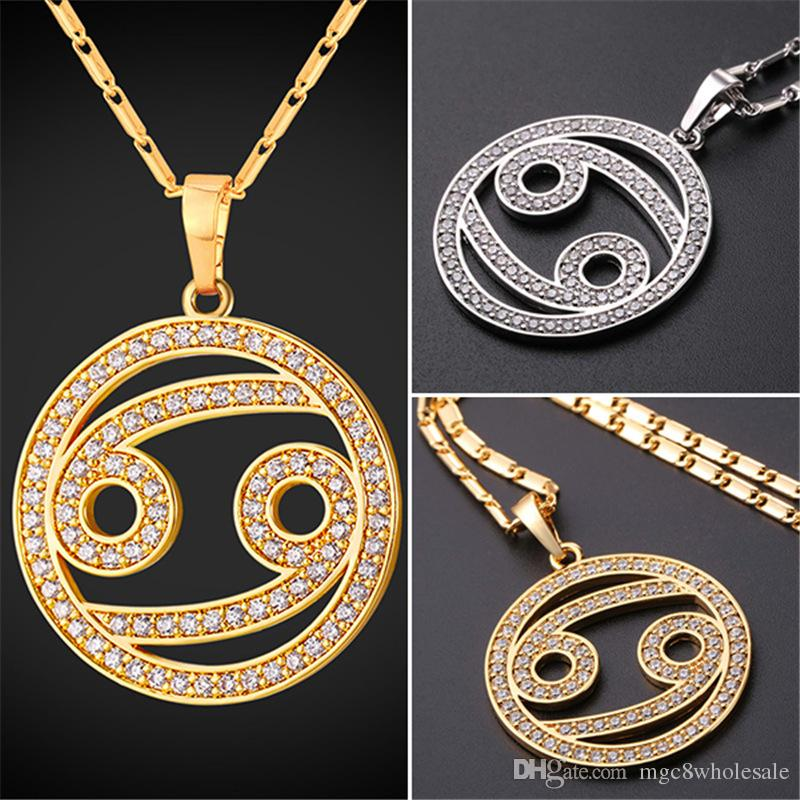 Wholesale u7 new zodiac charms cancer pendant necklace simple women wholesale u7 new zodiac charms cancer pendant necklace simple womenmen jewelry gift rhinestone goldplatinum plated necklace perfect gifts p2506 heart aloadofball Gallery