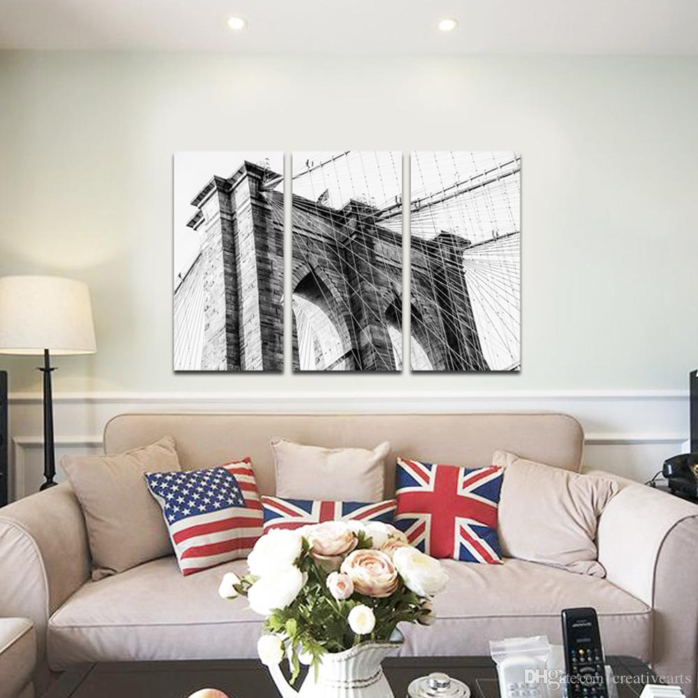 Black and White Artwork Bridge Paintings Art On Canvas Dropship Print 3 Panels Home Decoration Wall Hanging For Living Room And Bedroom