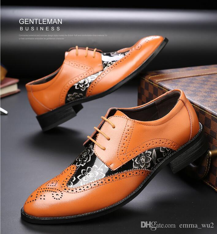 Men Dress Shoes Brogue oxford Patent Leather Luxury Fashion Groom Wedding Shoes Business Men Formal shoes Big Size
