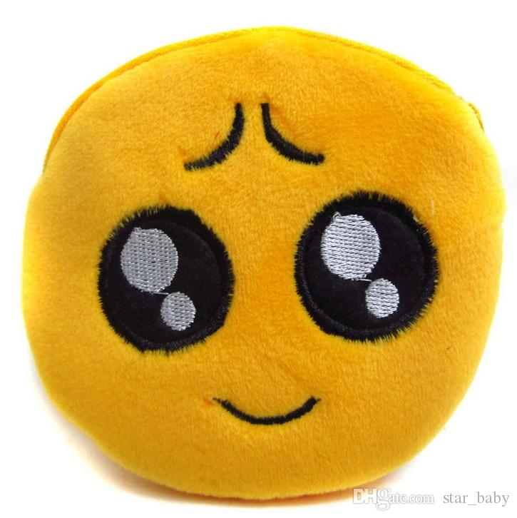10 Tasarım QQ İfade Sikke Çantalar Sevimli Emoji Para Çanta Peluş Kolye Kadın Kızlar Yaratıcı Chirstmas Hediyeler Yüksek Kalite 11 cm K7030