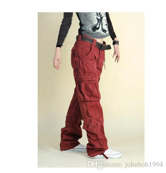 Mujeres multibolsillos Monos Pantalones rectos Pantalones de hip-hop Pantalones de pareja Caqui Pantalones casuales Pantalones sueltos Hiphop Dance