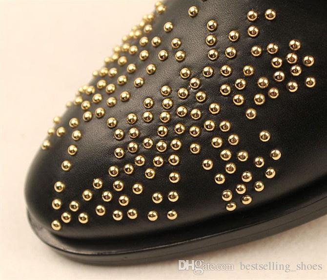 Stivaletti Slip-on Elegant Shoes Donna 2016 Morbidi stivali da donna in pelle Black Party Women Boots
