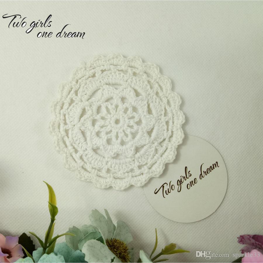 Trasporto del commercio all'ingrosso Handmade del fiore della famiglia di DIY Crochet Centrini lotto turno di Coppa Pad Mat 10CM tovagliette / Coaster la cerimonia nuziale