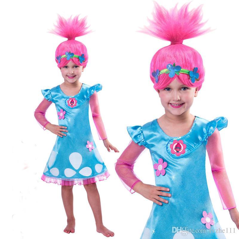 Grosshandel Neue Cosplay Trolle Mohn Troll Kostum Kostum Perucke Kind