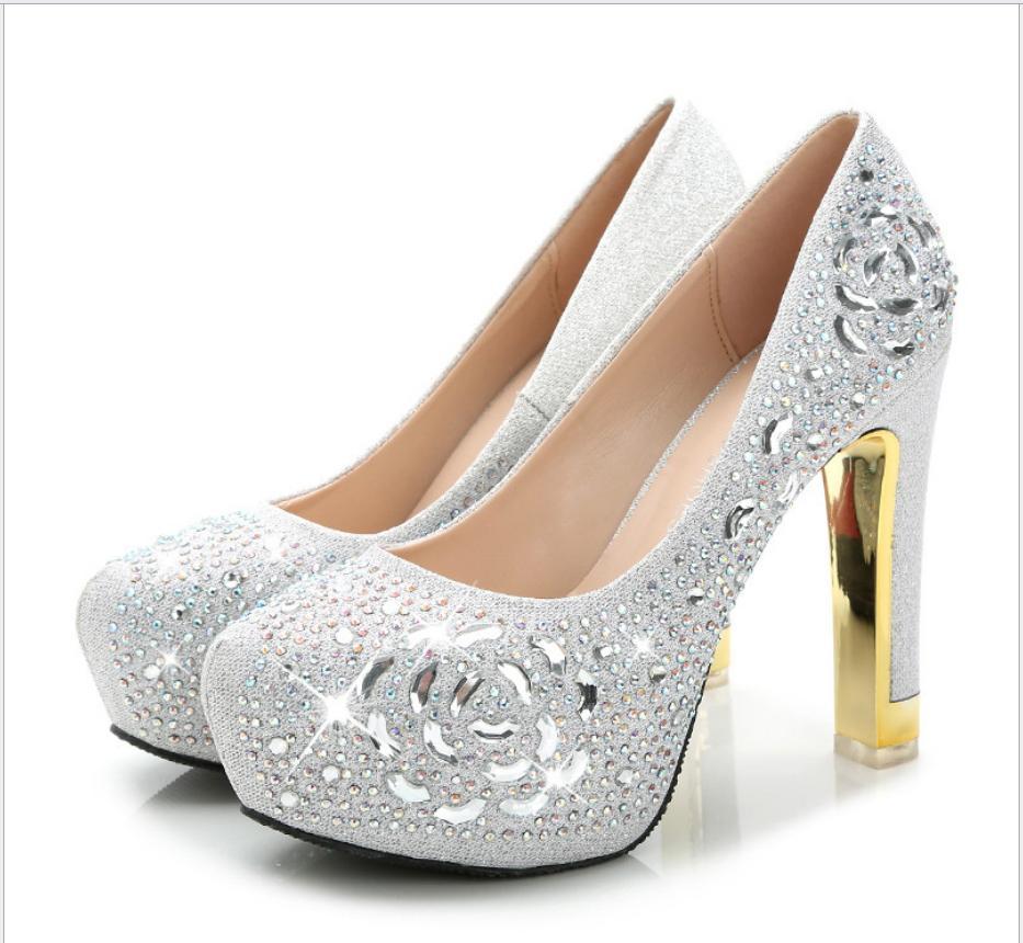 Großhandel High Heels Mit Groben Diamant Hochzeit Schuhe Und ...