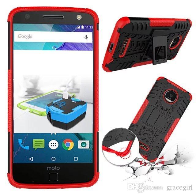 Motorola MOTO Z X4 Oyna Samsung Galaxy J120 A8 2018 Hibrid Sert PC TPU Kılıf 3 in 1 Lastik Sağlam Zırh Standı Darbeye Cep Telefonu Kapak