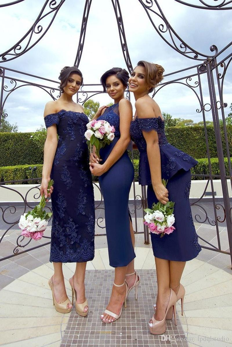 1561ad23bc Sexy Navy Blue Bridesmaid Dresses Tea Length Wedding Party Dresses Floral  Lace Applique With Beads Bridesmaid Gowns Cheap Turquoise Bridesmaid Dresses  ...