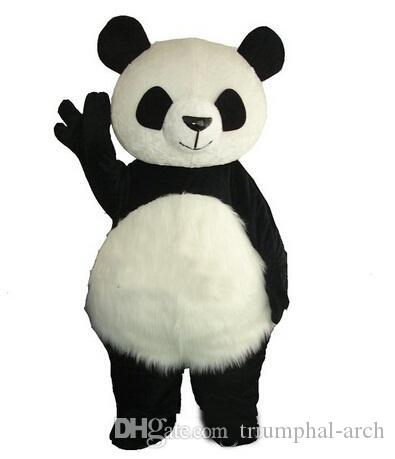 Long Hair Panda Bear Mascot Costume Adult Mascot Men's for Party and Valentine's Day Thanksgiving Day Christmas Halloween and New Years