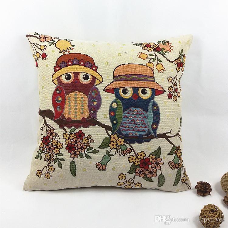 Suave almohada de felpa cojín de algodón de la vendimia Funda de almohada de lino del búho sofá cintura Throw Cojín decoración del hogar del amortiguador del partido suministros