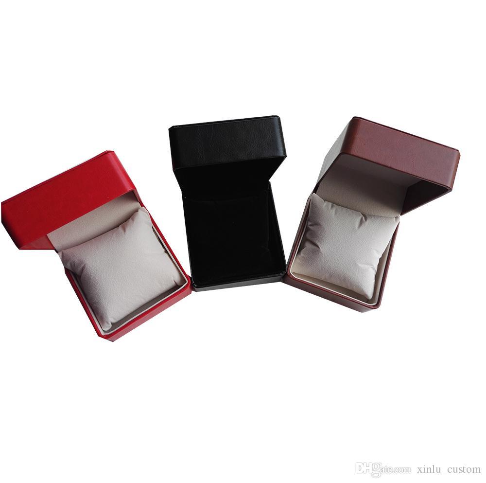 Qualité pas cher en gros LOGO PERSONNALISÉ BOX noir / marron / rouge en cuir à coudre intérieur velours oreiller bijoux en cuir montre boîte de rangement cas bracelet