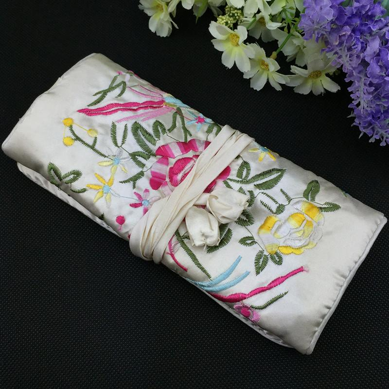 Embroidery flower Birds Silk Fabric Jewellery Roll Up Travel Storage Bag Portable Large Cosmetic Bag Women Drawstring Makeup Pouch
