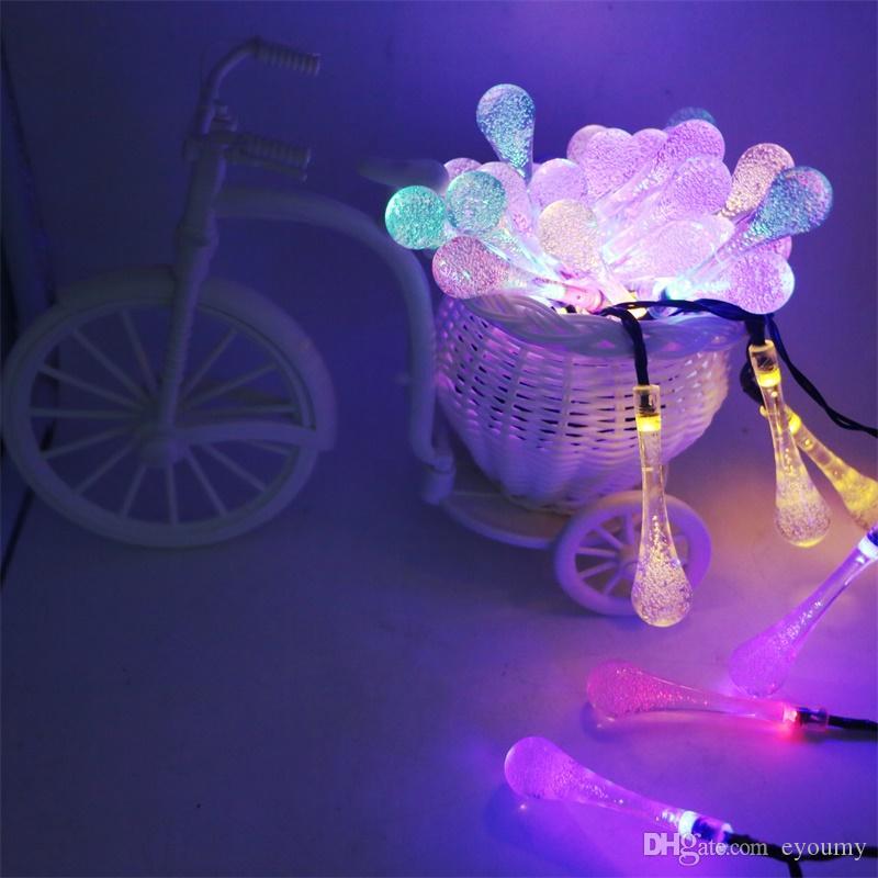 Waterdrop Raindrop LED Solar String Light Novelty Xmas Tree Outdoor Garden Decorative Light Patio Lantern/ 4.8M 20 LEDs