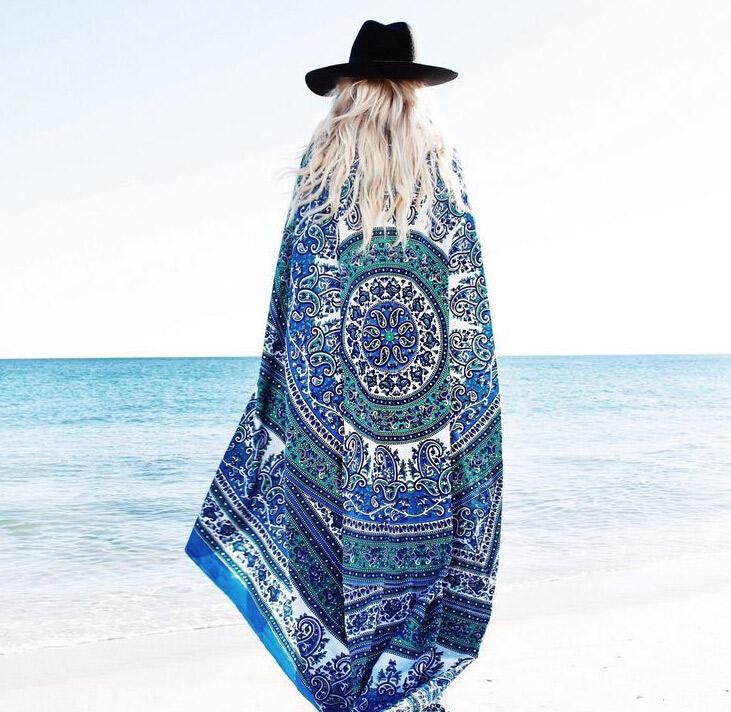 해변 Sarongs 숄 인도 만다라 스퀘어 비치 태피스 트리 히피 Boho 집시 면화 식탁보 요가 매트 쉬폰 비치 패드 Sarongs