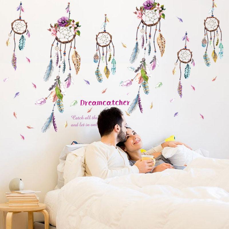 Compre Colorido Campanula Pluma Etiqueta De La Pared Dreamcatcher ...