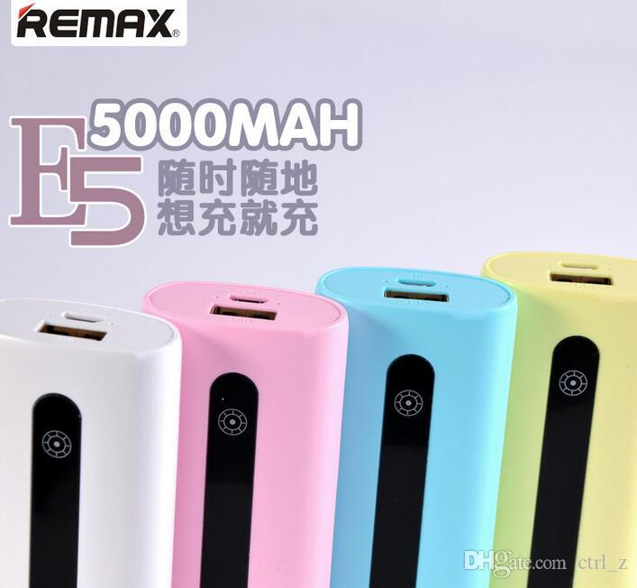 Original Remax E5 Power Bank 5000mAh portable Ultra Slim Powerbank 5000 External Battery Charger for iphone samsung mobile