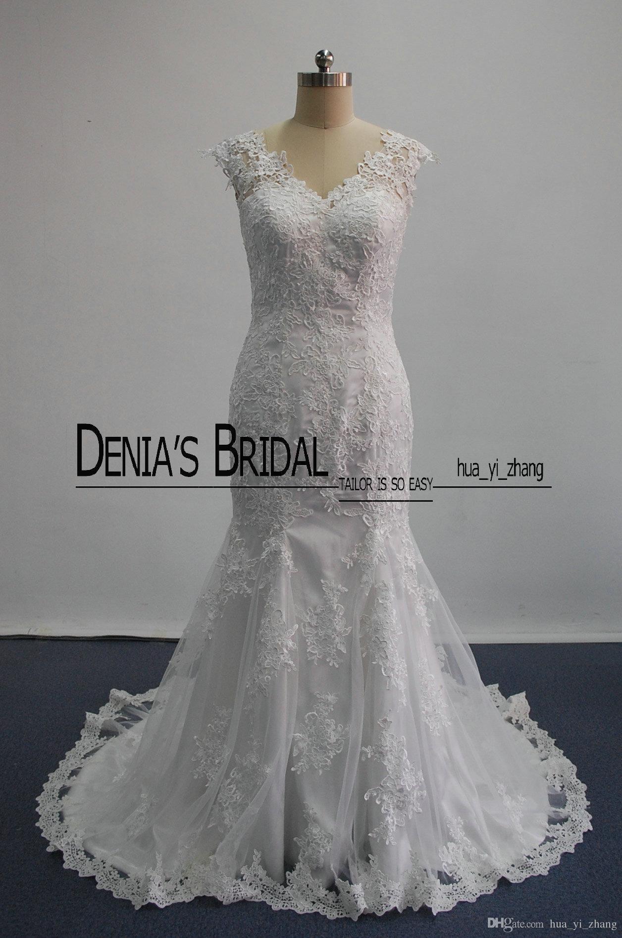 Real 2016 sexy sirena abiti da sposa sheer pizzo appliques senza maniche corte treno ispirato da amelia sposa alba abiti da sposa