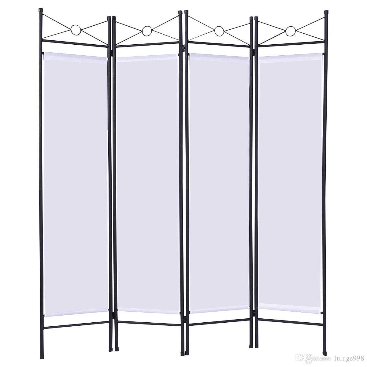 2018 White 4 Panel Room Divider Privacy Folding Screen Home Office ...