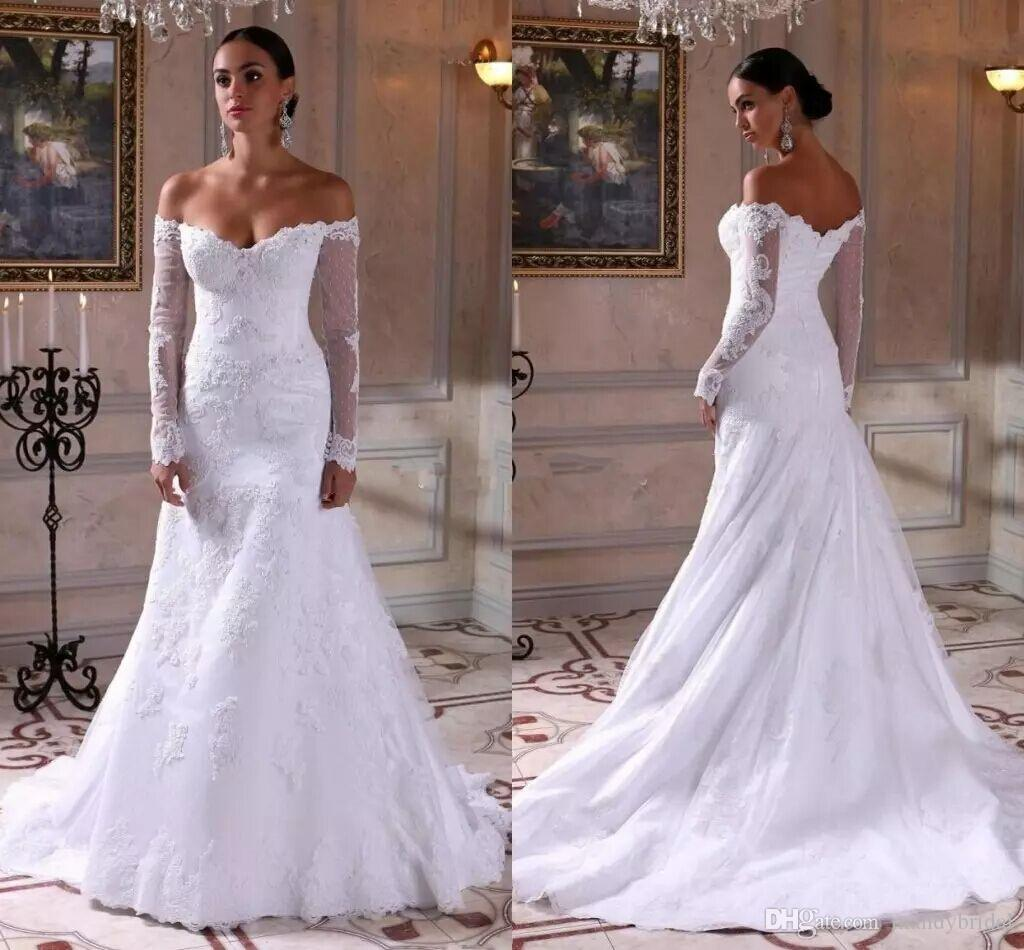 Elegant Silk Wedding Dresses With Sleeves: 2018 Elegant Wedding Dresses Mermaid Lace Satin Mature