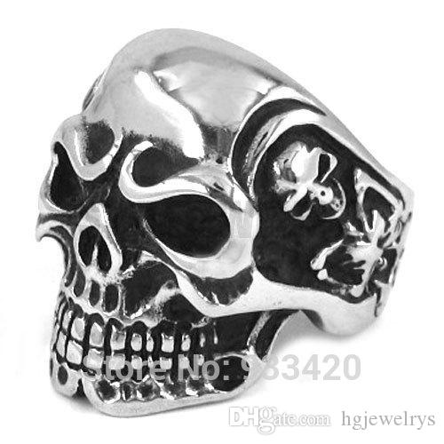 ! 2015 Fashion Ring Vintage Jewelry Gothic Skull Biker Ring Stainless Steel Men Ring Wholesale SWR0082B